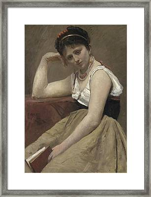 Interrupted Reading Framed Print by Jean Baptiste Camille Corot