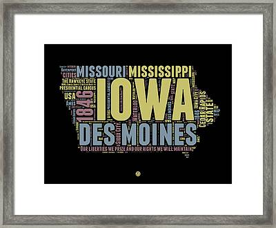 Iowa Word Cloud 1 Framed Print by Naxart Studio