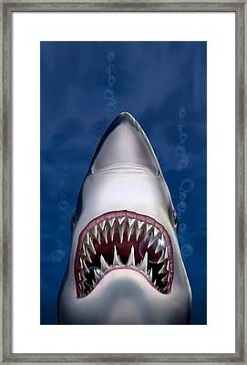 iPhone - Galaxy Case - Jaws Great White Shark Art Framed Print by Walt Curlee