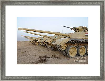 Iraqi T-72 Tanks From Iraqi Army Framed Print by Stocktrek Images