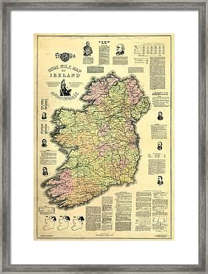 Ireland 1893 Map Framed Print by Jon Neidert