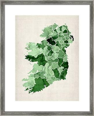 Ireland Watercolor Map Framed Print by Michael Tompsett