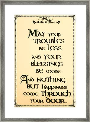 Irish Blessing Framed Print by Bill Cannon