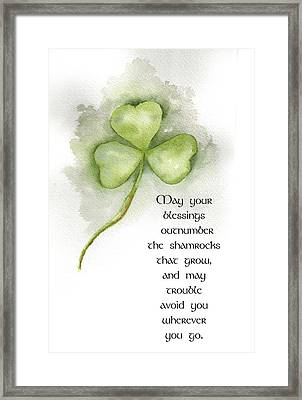 Irish Blessing Framed Print by Nancy Ingersoll