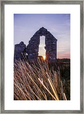 Irish Sunrise Through The Ruin Of Lough Eskie Hunting Lodge Framed Print by Bill Cannon
