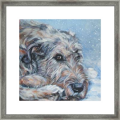 Irish Wolfhound Resting Framed Print by Lee Ann Shepard