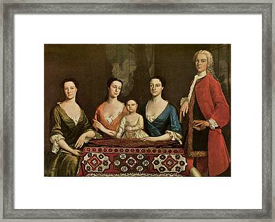 Isaac Royall And His Family Framed Print by Robert Feke