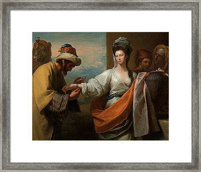 Isaac's Servant Tying The Bracelet On Rebecca's Arm Framed Print by Benjamin West