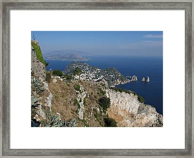 Island Capri View From The Highest Point Monte Solaro Framed Print by Kiril Stanchev