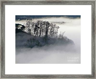 Island In The Morning Mist Framed Print by Sean Griffin