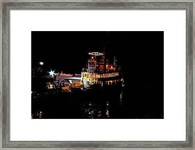 Island Queen Night Docking Framed Print by Paul Wash