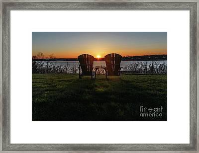 Island Sunset In Maine Framed Print by Joe Faragalli