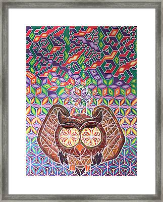 Isometric Owl Framed Print by Bart Van Hertum