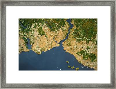 Istanbul City Topographic Map Natural Color Framed Print by Frank Ramspott