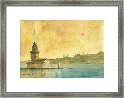Istanbul Maiden Tower Framed Print by Juan Bosco
