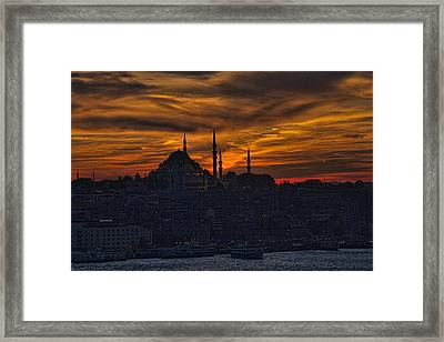 Istanbul Sunset - A Call To Prayer Framed Print by David Smith