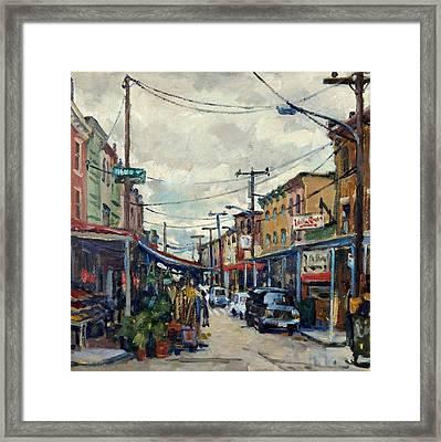 Italian Market Philadelphia Rainy Framed Print by Thor Wickstrom