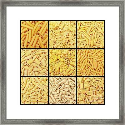 Italian Pasta Background Framed Print by Gualtiero Boffi