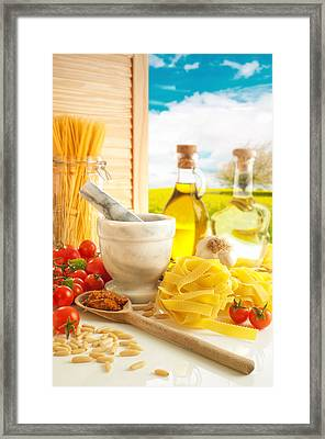 Italian Pasta In Country Kitchen Framed Print by Amanda And Christopher Elwell
