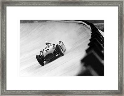 Italian Racing Driver Nino Farina Driving His Ferrari At Monza  Framed Print by Italian School