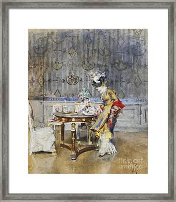 Italian The Letter Framed Print by Giovanni Boldini
