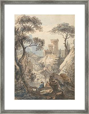 Italianate Landscape With Castle, Cascade And Anglers Framed Print by Paul Sandby