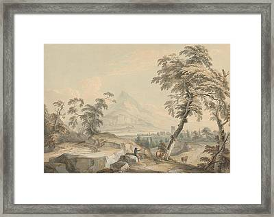 Italianate Landscape With Travelers, No. 1 Framed Print by Paul Sandby
