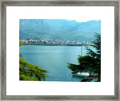 Itallian Village In Front Of Swiss Alps Framed Print by Marsha Heiken