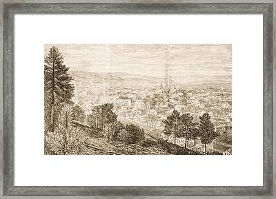 Ithaca And The Cornell University,new Framed Print by Vintage Design Pics