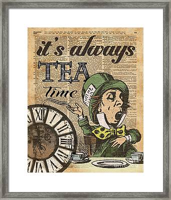 It's Always Tea Time Mad Hatter Dictionary Art Framed Print by Jacob Kuch