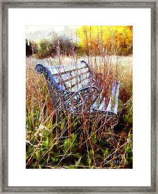 It's Been Awhile - Park Bench Framed Print by Janine Riley