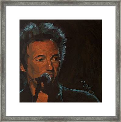 It's Boss Time - Bruce Springsteen Portrait Framed Print by Khairzul MG