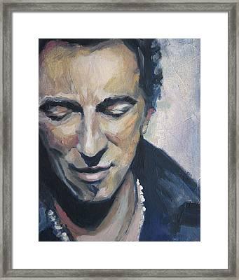 It's Boss Time II - Bruce Springsteen Portrait Framed Print by Khairzul MG