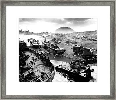 Iwo Jima Beach Framed Print by War Is Hell Store