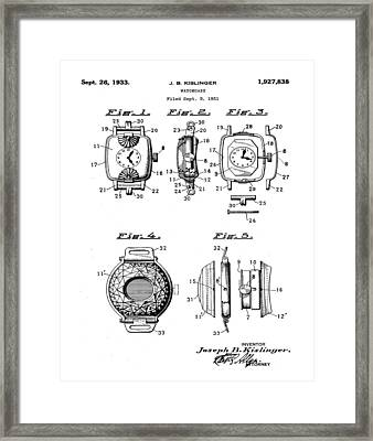J B Kislinger Watch Patent 1933 Framed Print by Bill Cannon
