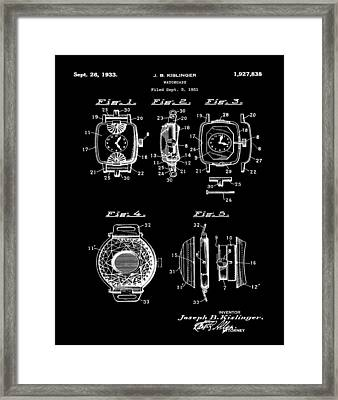 J B Kislinger Watch Patent 1933 Black Framed Print by Bill Cannon