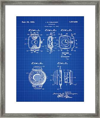 J B Kislinger Watch Patent 1933 Blue Print Framed Print by Bill Cannon
