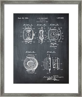 J B Kislinger Watch Patent 1933 Chalk Framed Print by Bill Cannon