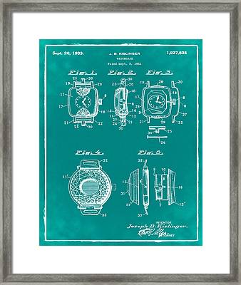 J B Kislinger Watch Patent 1933 Green Framed Print by Bill Cannon