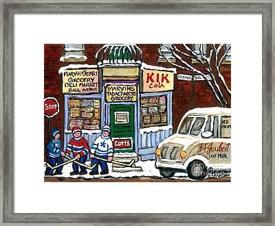 J J Joubert Vintage Milk Truck At Marvin's Grocery Montreal Memories Street Hockey Best Hockey Art Framed Print by Carole Spandau