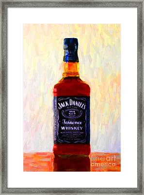 Jack Daniel's Tennessee Whiskey 80 Proof - Version 1 - Painterly Framed Print by Wingsdomain Art and Photography