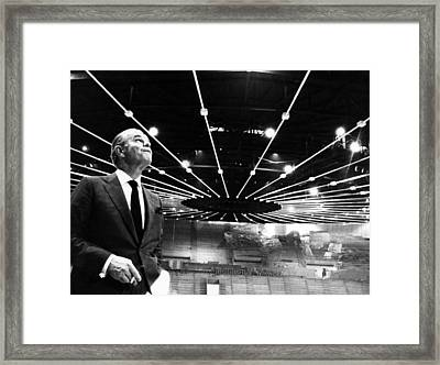 Jack Kent Cooke In The Forum Sports Framed Print by Everett