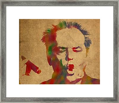 Jack Nicholson Smoking A Cigar Blowing Smoke Ring Watercolor Portrait On Old Canvas Framed Print by Design Turnpike