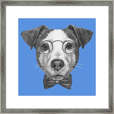 Jack Russell With Glasses And Bow Tie Framed Print by Marco Sousa