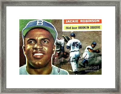 Jackie Robinson-brooklyn Dodger Framed Print by Arnie Goldstein