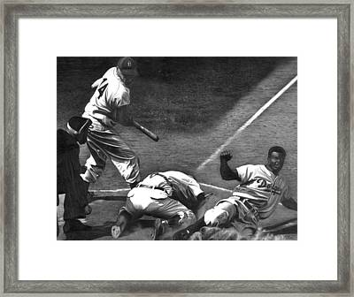 Jackie Steals Home Framed Print by Jerry Winick