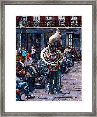 Jackson Square Bass Horn Player Framed Print by John Boles