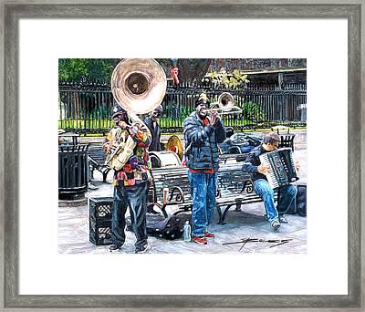 Jackson Square Musicians Framed Print by John Boles
