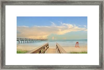 Jacksonville Pier Framed Print by Lori Deiter