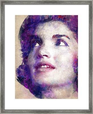 Jacqueline Kennedy Onassis Framed Print by Angela Boyko